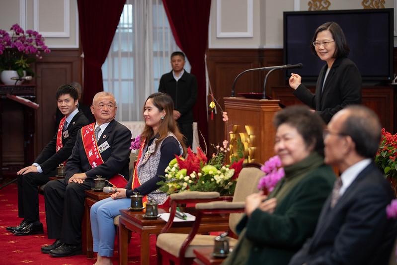 總統接見「108年農村領航獎得獎者」,並致詞