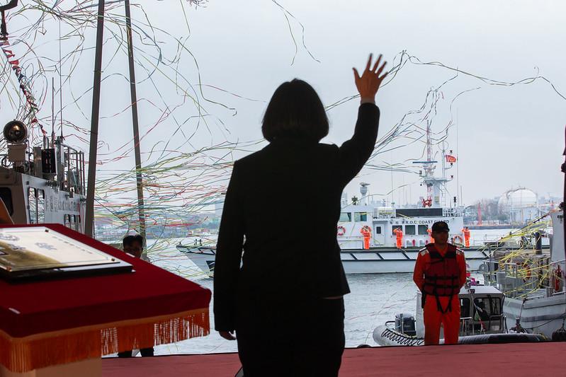 蔡英文總統今(6)日上午出席海洋委員會艦艇交船典禮