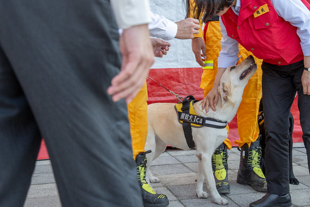 總統與新竹市搜救犬Ica 互動
